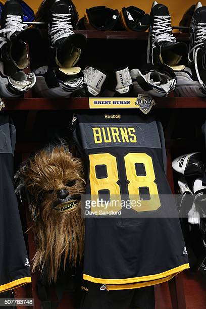 The locker stall of Brent Burns of the San Jose Sharks is seen with his Chewbacca mask in the Western Conference locker room before the 2016 Honda...