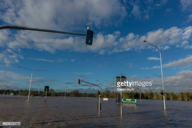 The Logan River near Beaudesert has broken it's banks and flooded surrounding areas on March 31 2017 in Brisbane Australia Heavy rain has caused...