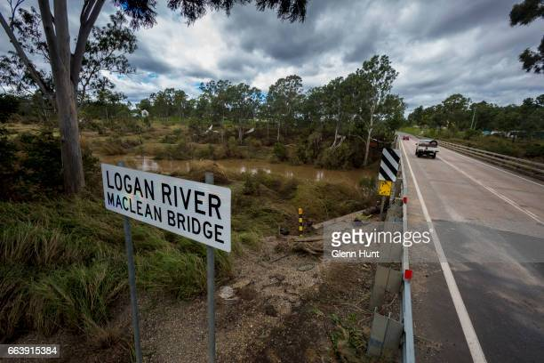 The Logan River where a torrent of flood water passed through on April 3 2017 in Beaudesert Australia Heavy rain caused flash flooding across...