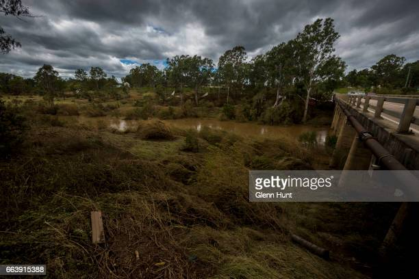 The Logan River where a torrent of flood water passed through on April 3 2017 in Beadesert Australia Heavy rain caused flash flooding across south...