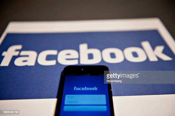 The login page for the Facebook Inc mobile application is displayed on an Apple Inc iPhone 5 in Tiskilwa Illinois US on Tuesday Jan 29 2013 Facebook...