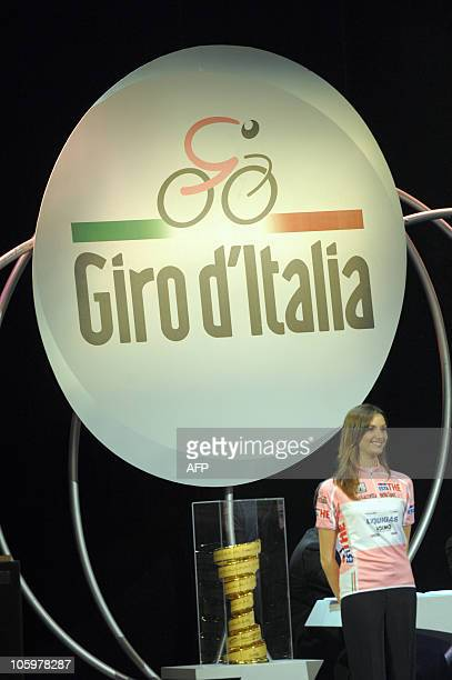 The logo and the trophy of the 94th edition of the 'Giro d'Italia' is seen during its presentation at Teatro Carignano in Turin on October 23 2010...