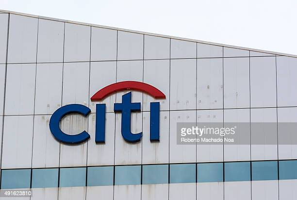 The logo CITI on the facade of a modern building Citigroup Inc or Citi is an American multinational banking and financial services corporation...