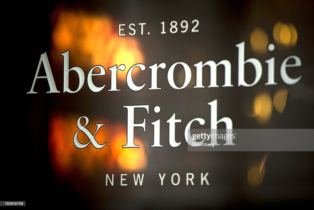 The logo for Abercrombie & Fitch Co. is displayed outside their store on Burlington Gardens in central London, U.K., on Monday, Feb. 25, 2013. U.K. Chancellor of the Exchequer George Osborne won't bow to opposition calls to change economic plans after the decision by Moody's Investors Service to strip the U.K. of its Aaa status. Photographer: Jason Alden/Bloomberg via Getty Images