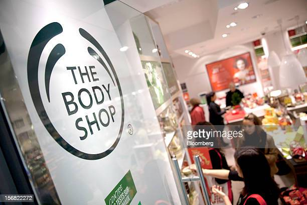 The logo for Body Shop owned by L'Oreal SA is seen on the entrance to a store in Paris France on Wednesday Nov 21 2012 Body Shop International Plc...