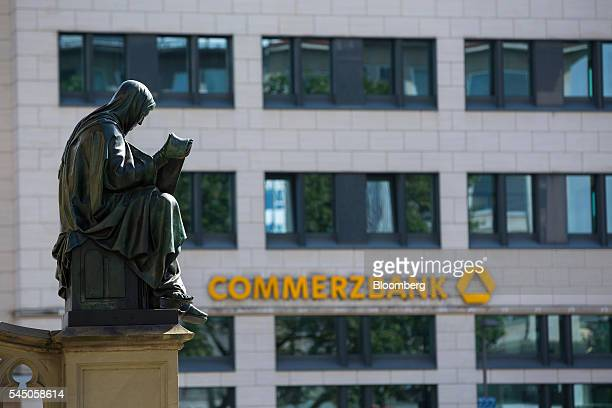 The logo for Commerzbank AG sits on display outside a bank branch in Frankfurt Germany on Monday July 4 2016 The British seat at the European Union...