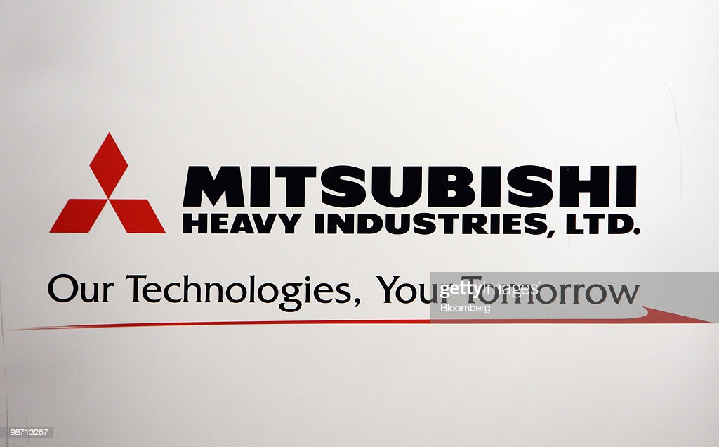 The logo for Mitsubishi Heavy Industries Ltd is displayed at a news conference in Tokyo Japan on Wednesday April 28 2010 Mitsubishi Heavy Industries...