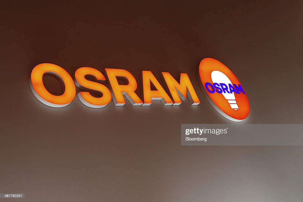 The logo for Osram Licht AG sits at the company's booth at the Light and Building Architecture and Technology Fair, in Frankfurt, Germany, on Monday, March 31, 2014. The Light and Building Architecture and Technology Fair takes place from March 30 to April 4 2014. Photographer: Ralph Orlowski/Bloomberg via Getty Images