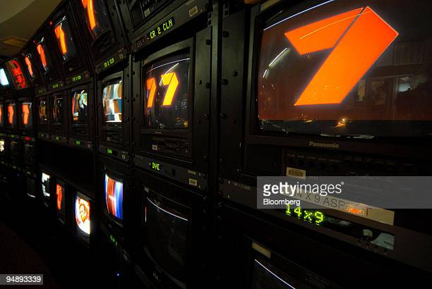 The logo for Seven Network Ltd is displayed on television monitors in the control room of the Seven Network studios in Melbourne Australia on Tuesday...