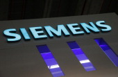 The logo for Siemens AG sits at the company's booth at the Light and Building Architecture and Technology Fair in Frankfurt Germany on Monday March...