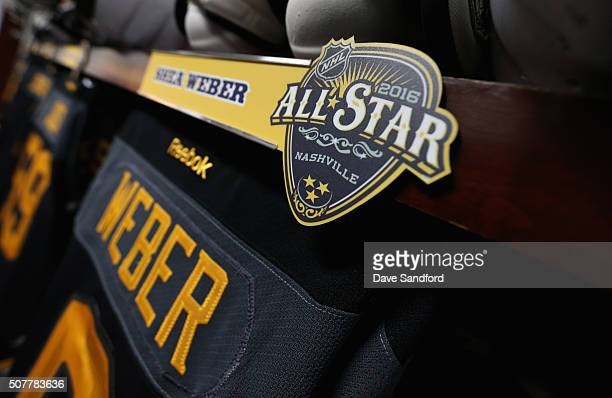 The logo for the 2016 NHL AllStar game is seen on the locker stall of Shea Weber of the Nashville Predators in the Western Conference locker room...