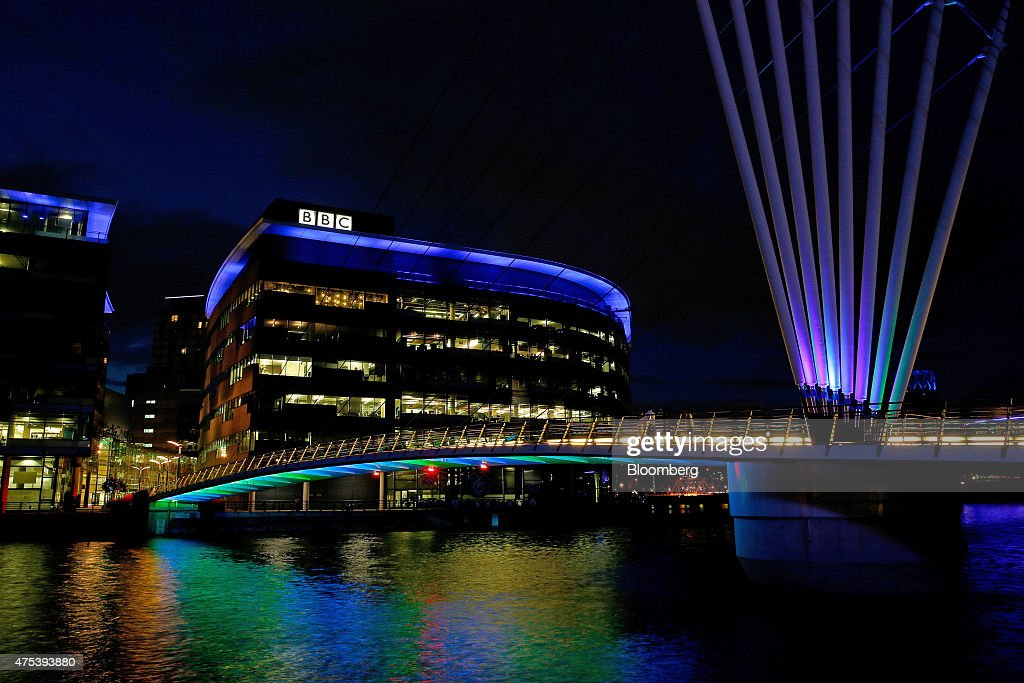 The logo for the British Broadcasting Corporation sits on top of a building at MediaCityUK in Salford Quays Manchester UK on Friday May 2015 Since...