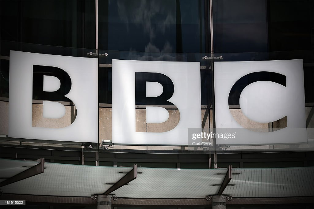 The logo for the Broadcasting House the headquarters of the BBC is displayed outside on July 25 2015 in London England The main Art Decostyle...