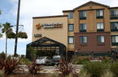 The logo for the Extended Stay hotel is on display of one of its hotels on June 15 2009 in San Rafael California Struggling hotel chain Extended Stay...