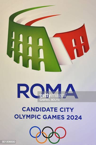 The logo for the Rome's bid to host 2024 Olympic Games is pictured during ceremony on December 14 2015 Budapest Los Angeles Paris and Rome are in the...