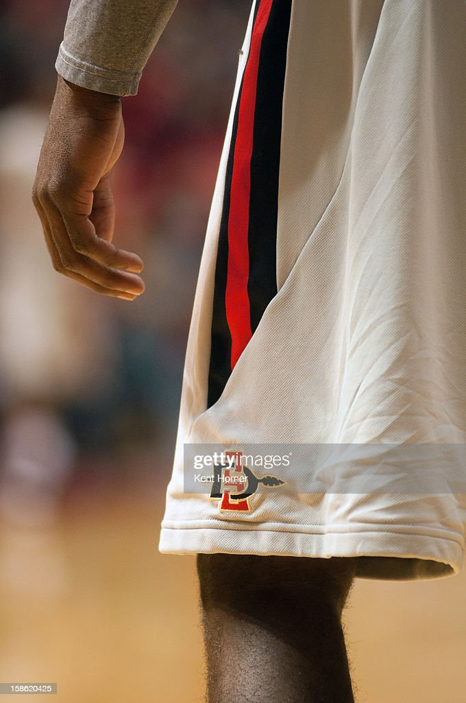 The logo for the San Diego State Aztecs stitched into the uniform shorts of Jamaal Franklin #21 of the ball in the first half of the game against the University of San Diego Toreros at Viejas Arena on December 15, 2012 in San Diego, California.
