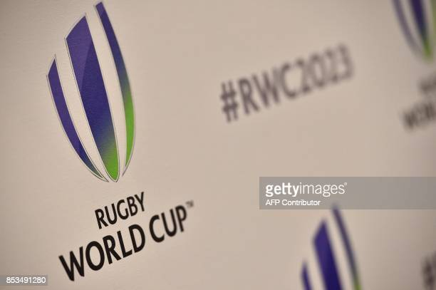 The logo for World Rugby the international governing body of Rugby Union is on panelling as countries present their bids for the 2023 Rugby World Cup...