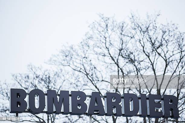 The logo in front of the plant of Bombardier is pictured on January 09 2017 in Goerlitz Germany According to media reports Canadian train...
