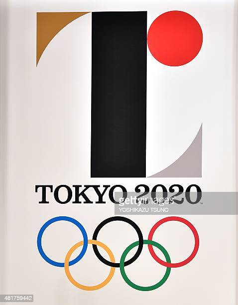 The logo mark of the Tokyo 2020 Olympic Games is unveiled at the Tokyo city hall on July 24 2015 The set of two logos for the Olympic and Paralympic...