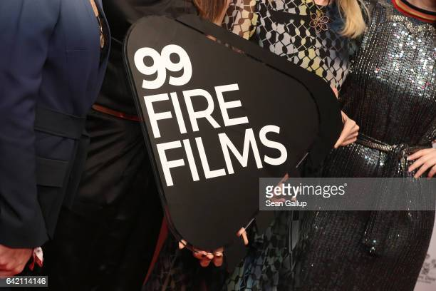 The logo of 99Fire Films is displayed at the 99FireFilmsAward at Admiralspalast on February 16 2017 in Berlin Germany