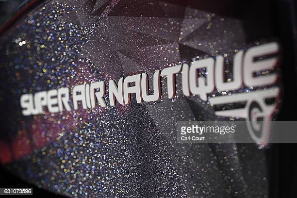 The logo of a boat maker is displayed on the hull of a vessel at the annual London Boat Show at ExCel on January 6 2017 in London England The show...