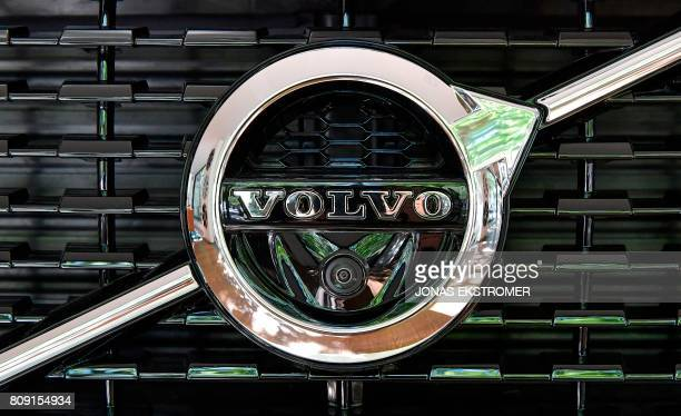 The logo of a Volvo XC 90 is pictured at the Volvo Cars Showroom in Stockholm Sweden on July 05 2017 Volvo Cars CEO Hakan Samuelsson said that all...