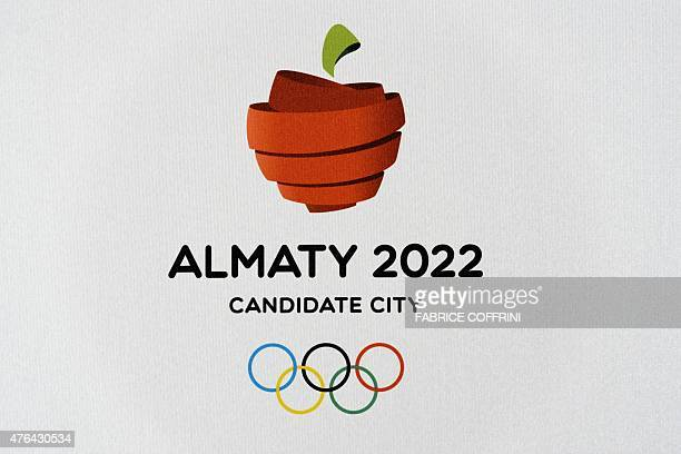 The logo of Almaty 2022 Candidate City is seen on June 9 2015 at the Olympic Museum in Lausanne Beijing and Almaty the two cities competing to host...