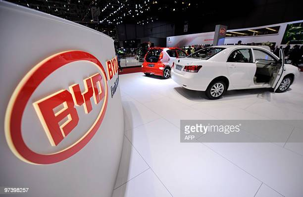 The logo of Chinese car manufacturer BYD can be seen at the 80th Geneva International Motor Show at Palexpo in Geneva on March 3 2010 Global car...