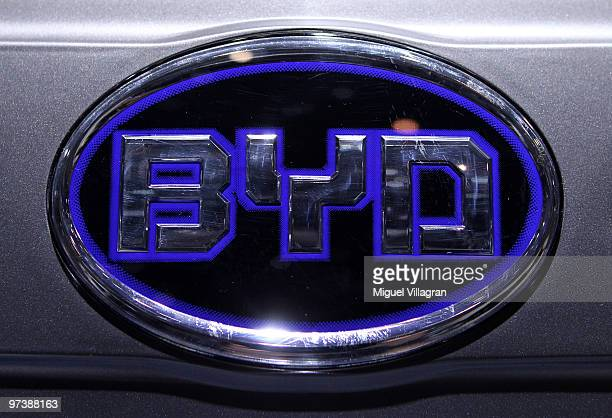 The logo of Chinese car manufacturer BYD is pictured during the second press day at the 80th Geneva International Motor Show on March 3 2010 in...