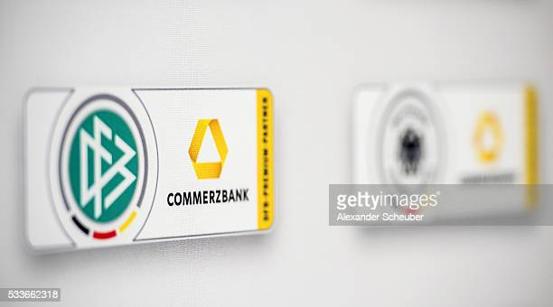 The logo of Commerzbank and DFB is seen prior the DFB and Commerzbank press conference at CommerzbankTower on May 23 2016 in Frankfurt am Main Germany