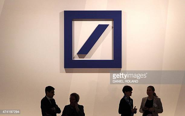 The logo of Deutsche Bank is pictured during the company's annual shareholder meeting in Frankfurt/Main Germany on May 21 2015 Deutsche Bank has...