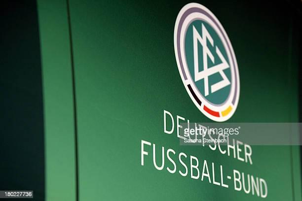 The logo of Deutscher FussballBund is seen on a wall prior to the U19 international friendly match between Germany and Greece at Preussenstadion on...