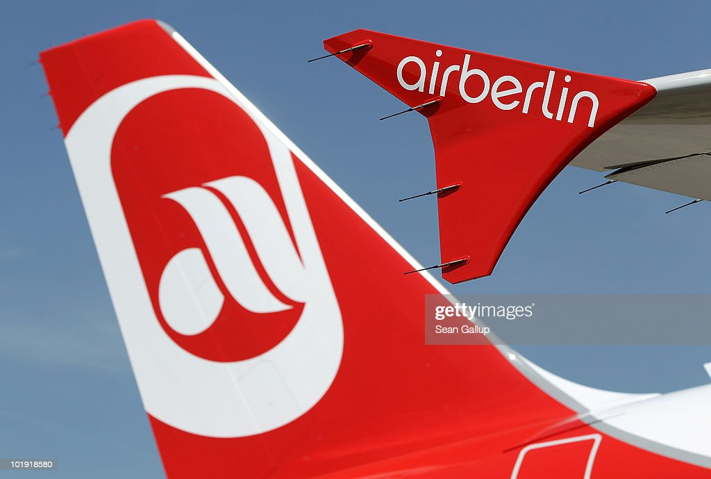 The logo of discount airline Air Berlin is displayed on an Air Berlin passenger plane at Schoenefeld Airport during the ILA Berlin Air Show on June 9...