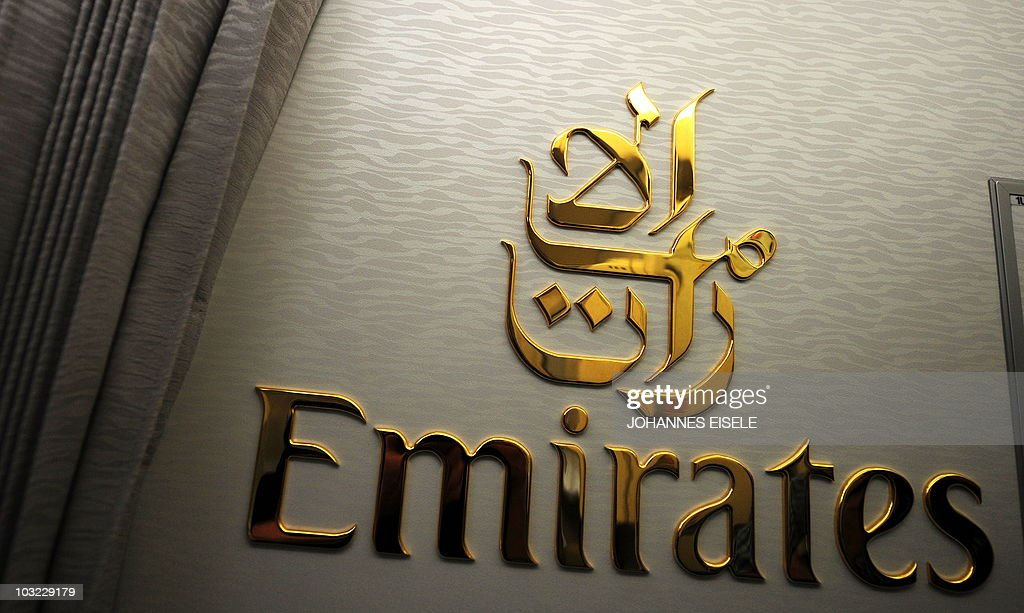 the logo of emirates airlines is pictured inside of an