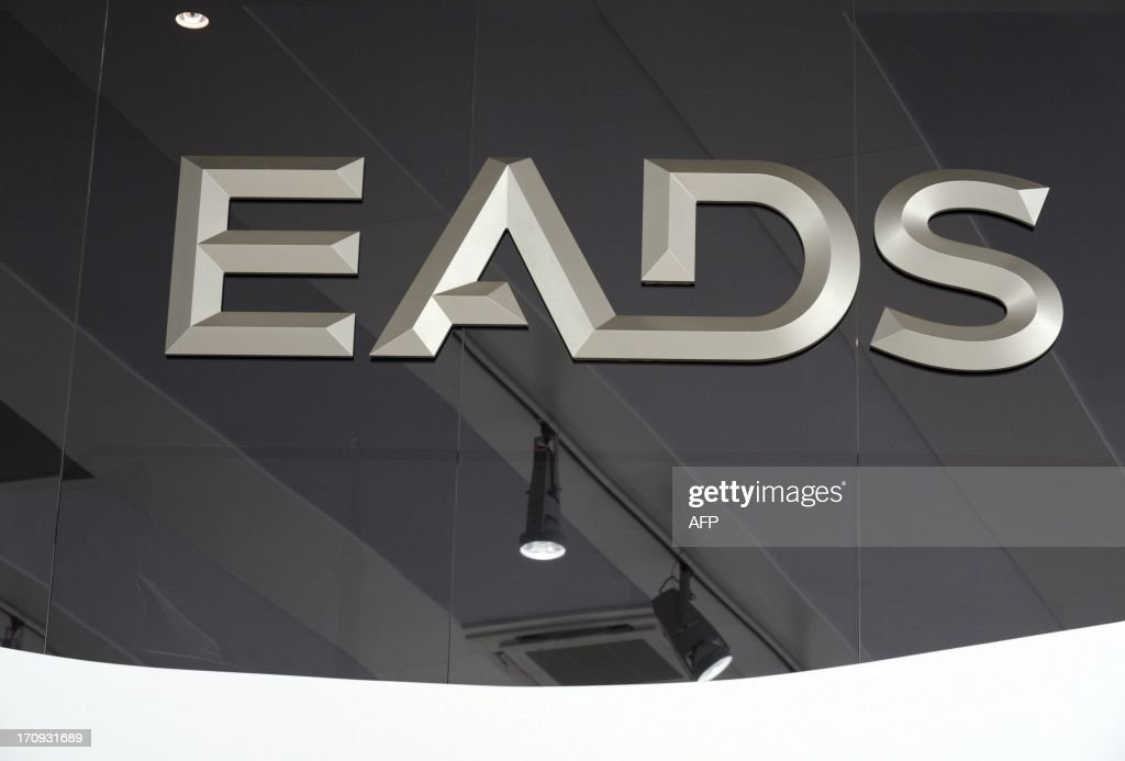 The logo of European aerospace giant EADS is pictured at Le Bourget airport, near Paris on June 20, 2013 during the 50th International Paris Air show.