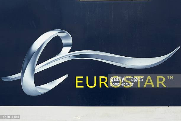 The logo of Eurostar is pictured on May 1 2015 in Marseille during the inaugural travel of the first Eurostar train to run directly between Marseille...