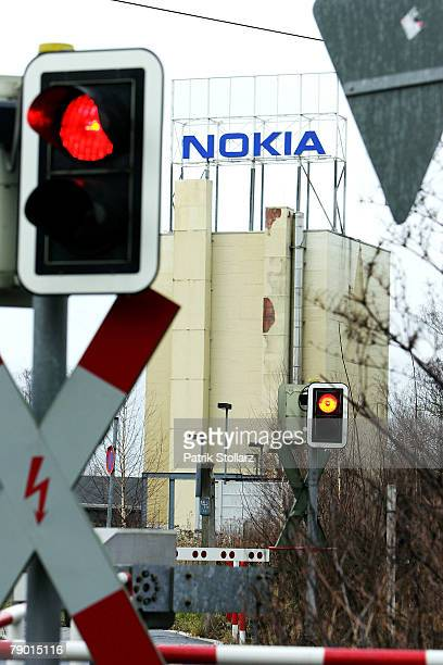 The logo of Finland's mobile phone manufacturer Nokia is seen at the company's plant on January 16 in Bochum Germany A confederation of German unions...