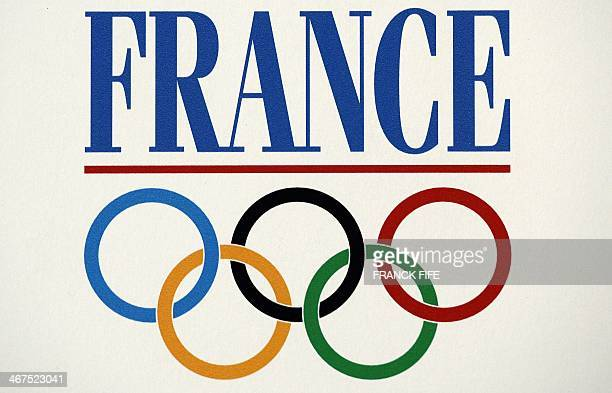 The logo of France's Olympic Team is displayed during a press conference of French Olympic Committee at the French House on February 7 2014 in Sochi...