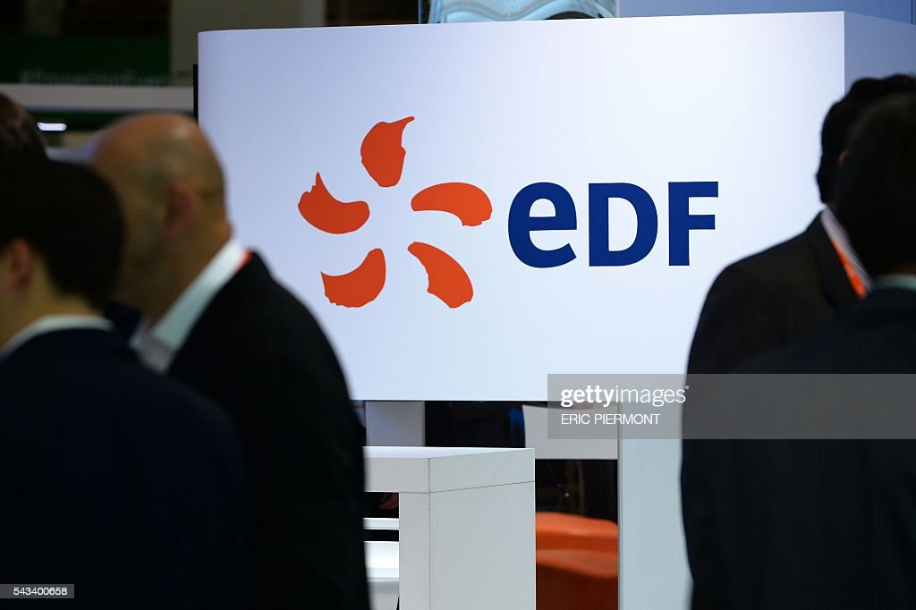 The logo of France's state-run power firm EDF is seen during the World Nuclear Exhibition in Le Bourget, near Paris, on June 28, 2016. / AFP / ERIC