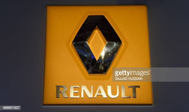 The logo of french carmaker Renault is pictured at the 12th Auto Expo in Greater Noida on February 5 2014 AFP PHOTO/ SAJJAD HUSSAIN