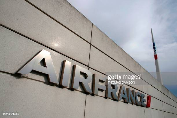 The logo of French flag carrier Air France is pictured at the headquarters in Roissy northeast of Paris on October 12 2015 Five Air France employees...