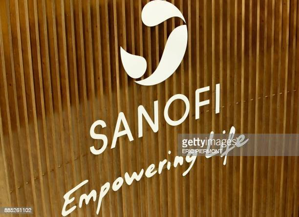 The logo of French multinational pharmaceutical company Sanofi is pictured on December 4 2017 at the company's Val de Bievre Campus at its...