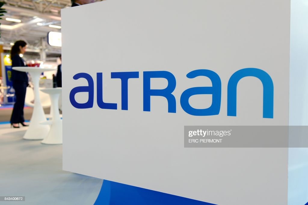 the logo of French technology consultancy Altran is seen during the World Nuclear Exhibition in Le Bourget, near Paris, on June 28, 2016. / AFP / ERIC