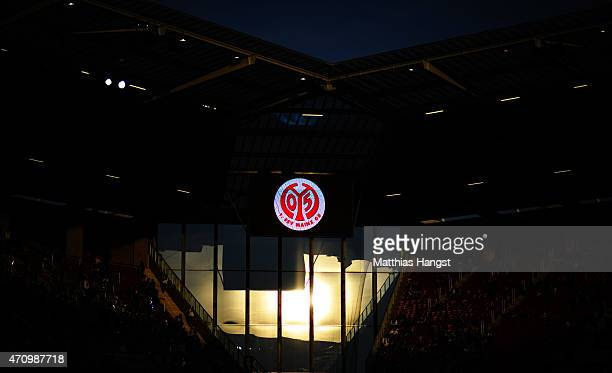 The logo of FSV Mainz 05 seen during sunset prior to the Bundesliga match between 1 FSV Mainz 05 nd FC Schalke 04 at Coface Arena on April 24 2015 in...