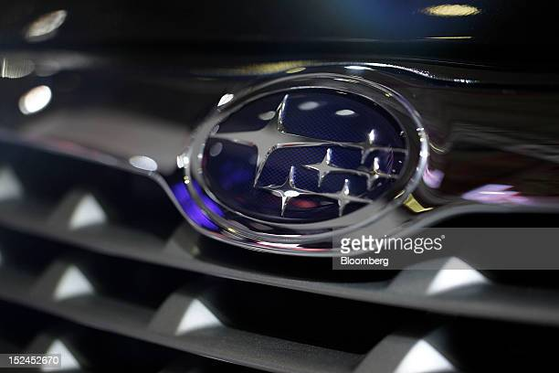 The logo of Fuji Heavy Industries Ltd's Subaru brand is displayed on a vehicle at the Indonesia International Motor Show in Jakarta Indonesia on...