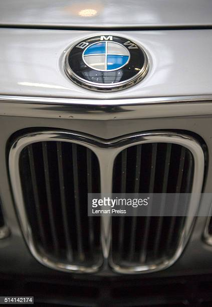 The logo of German automaker BMW is seen on a radiator grill during the celebration marking the 100th anniversary of BMW on March 7 2016 in Munich...