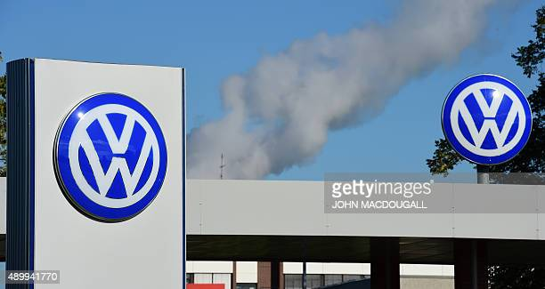 The logo of German car maker Volkswagen is pictured at the company's headquarters in Wolfsburg central Germany on September 25 2015 ahead of the...