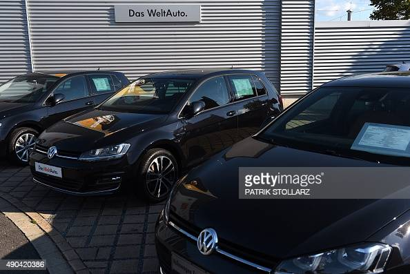 The logo of German car maker Volkswagen is seen at a VW Golf at the VW branch in Duesseldorf western Germany on September 28 2015 Volkswagen came...