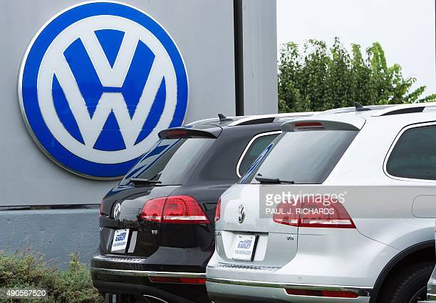 The logo of German car maker Volkswagen is seen at Northern Virginia dealer in Woodbridge Virginia on September 29 2015 Wall Street stocks dropped...