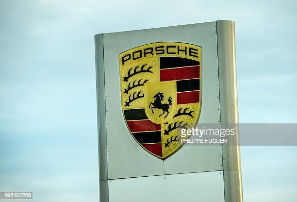 The logo of German carmaker Porsche is pictured at a branch in Villeneuve d'Ascq northern France on November 3 2015 The US Environmental Protection...